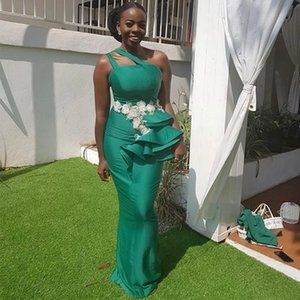 Maid of Honor Dresses Long One Shoulder Sheath Green Satin Bridesmaid Dresses African Wedding Guest Gowns with Appliques