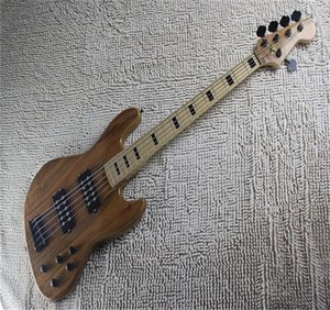 Top Quality flame maple Burlywood with active pickup system quality earth logo electric bass guitar