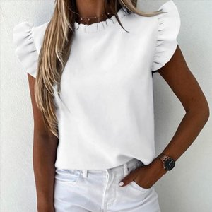 Womens Ruffle White Shirts Plus Size Summer Fashion Short Sleeve Clothing Ladies Casual Daily Blouse Summer Shirt Tops Blusas