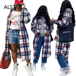 Young Party Lady Fashion Grid Print Long Sleeve Top High Street Chic Lady Fashion Women Cardigan Casual Trench Outerwear