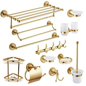 Bath Accessory Set Vintage Polished Solid Brass Gold Bathroom Accessories European Wall Mounted Hardware Sets PI52