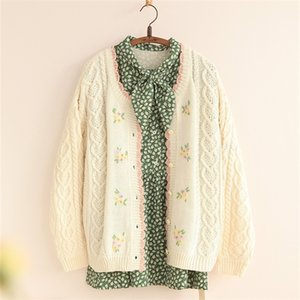 2020 autumn knitted cardigan student round neck sweet fresh embroidered floral girl sweater jacket Z1123