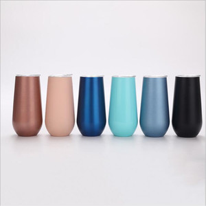 Tumbler Eggshell Champagne Glasses Stainless Steel Water Bottle Tumblers Beer Wine Glasses 6OZ Vacuum Insulated Glass Cups Drinkware B7685