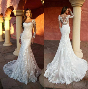 2021 Designer Lace Mermaid Wedding Dresses Illusion Long Sleeves Scoop Neckline Appliqued Back Buttons Wedding Gowns Bride Formal Dress
