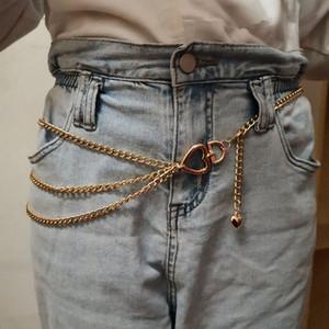 Love Heart Waist Chain Fashion Girdle Pants Waistband 3-layer Pant Chains Women Jeans Dress Metal Waist Gold Silver Accessories