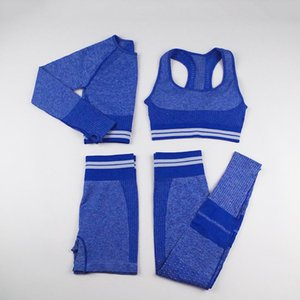 Winter Fashion Designer Womens Yoga Suit Gymshark Sportwear thick Tracksuits Fitness Sports four Piece set 4PCS bra Leggings outfits summer