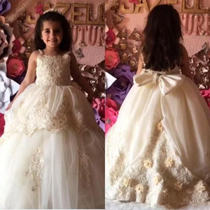 2020 Flower Girls' Dresses for Wedding Party with Bow Handmade Flowers Lace Applique Princess Birthday Party Graduation Gowns