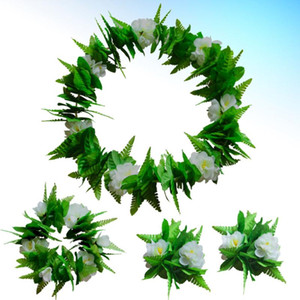 4pcs in 1 Set White Hawaiian Party Guirlande Fleur artificielle Feuilles Feuille Collier Collier Bracelet Tropical Beach Luau Parti Fantaisie