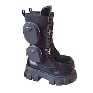 Mujeres Diseñadores Rois Motocicleta Botas altas Tobillo Nylon Combat Boot y Martin Outdoor Militar Martin Tobillo Nylon Blouch Zapatos adjuntos