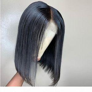 4X4 Silk Base-Short volle Spitze-Front Closure Perücken Bob-Perücke für schwarze Frauen natürlicher Farben brasilianisches Remy Haar