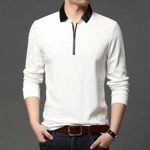 Papa de algodón Nueva camiseta de manga larga para hombres Primavera y otoño Desgaste de un color de color sólido Cuello de media cadena KFFDDH-9006 A4ID