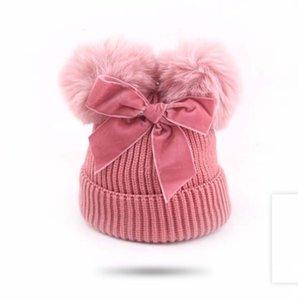Sombreros de punto crochet pom pom gorro gorros sombrero niños arco lana tejida gorras cálidas tapa de la tapa de los niños de la tapa de los niños de la tapa de los niños Hats de la cabeza de los niños de los niños
