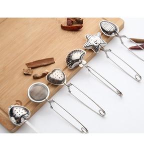 Coador de chá de aço inoxidável colher de chá speaker infusor 6 estilos shell estrela oval redondo coração forma coador chá ware lls308