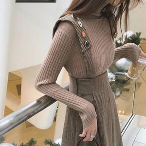 Güz Kış Seti İki Parçalı kadın Örme Balıkçı Yaka Kazak + Düğme Askı Ekose Elbise A-Line Woolen Jartiyer Etek