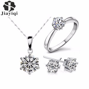 Hot Sale Silver Color Fashion Sets Cubic Zircon Statement Necklace & Earrings Rings Wedding Jewelry for Women Gift