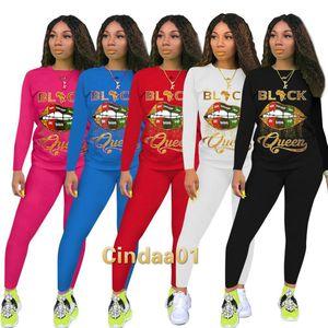 Trajes de mujer Trajes de dos piezas Conjunto de trajes de diseño Letes Labios Impreso Cuello redondo Manga Larga Pantalones Damas Nueva Moda Casual Traje Sportwear