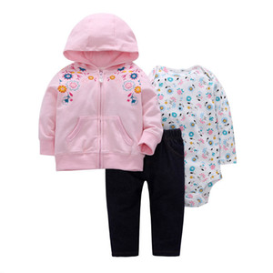 2019 bebes baby boy girls clothes set bodys bebes cotton hooded cardigan+trousers+body 3piece set newborn clothing Y1113