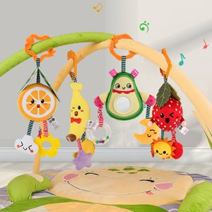 Tumama Baby Toys Hanging Rattles 4pack Fruit Rattle Handle Toys Stroller Hanging Teether Baby Toys 0-12 Months Z1124