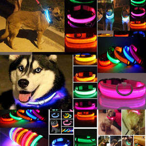 Collar Night Safety Nylon Flashing Glow LED In The Dark Dog Leash Dogs Luminous Fluorescent Collars Pet Supplies WWRQ