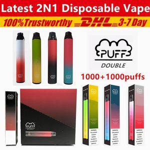 Puff Double 2021 New 2 in 1 Vape Puff Bars Plus Disposable Vape Device 2000puffs 900mAh Battery 6ml Pod 1000+1000 Puffs