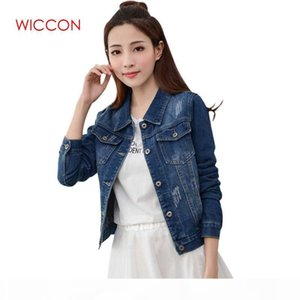 Wholesale-Brand Spirng Autumn New Denim Jacket For Women Fashion Casual Vintage Jeans Clothes Jacket Women Patchwork Single Breasted Coat