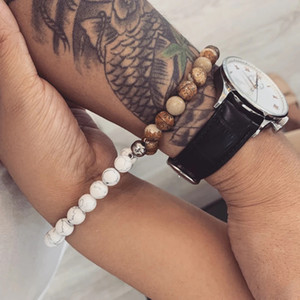 Couples Charme Bracelets Meilleur ami 8mm Bracelet en pierre Hommes Bracelet Naturel Volcanic Rock Beads Berfonces Déclaration Bijoux Bracelet d'amitié