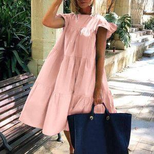 Women Vintage Floral Print Loose A Line Dress 2020 Summer O neck Petal Short Sleeve Dress Elegant Casual Party
