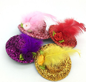 2020 24pcs Mini Top Beaded Flower Veil Feathre Hat Hair Clips Hair Accessories