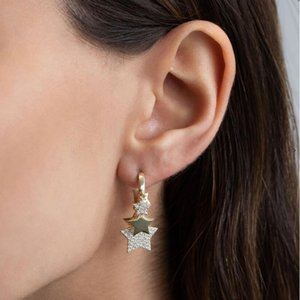 Gold silver Color cute mini cz star Dangle Earring with Shiny clear cz Different sizes star For Women luxury charm party Jewelry