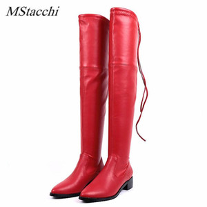MStacchi Sexy Women Boots Pointed Toe Thick Bottom Lace-Up Plush Elastic Force Boots Shoes Ventilate Party Lady Over-knee
