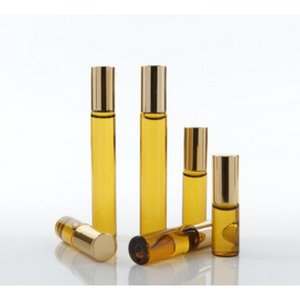 500pcs 3ml 5ml 10ml Gold Glass Bottle Roll On Empty Fragrance Perfume Essential Oil Bottles With Stainless Steel Roller Ball Con