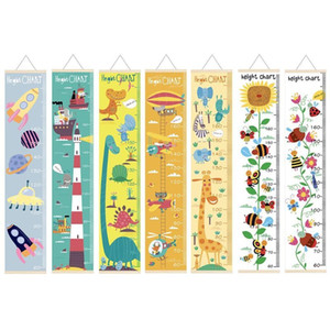 Cartoon Wood Canvas Baby Kids Measure Height Ruler Children Growth Chart Room Wall Hanging Home Decor Z1201