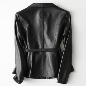 2020 Fashion Brand Genuine Leather Jacket Women Elegant Streetwear Casual Black Slim Sheepskin Coat with Belt 29103LW372