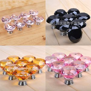 Crystal Glass Cone Shape Handles Door Drawer Single Hole Pulls Furniture Accessories 3*4cm Knob Colourful Translucent 0 99dy N2