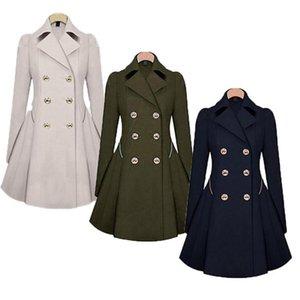 Drop shipping womens senhoras manga comprida casaco casual casaco de breasted s-4xl