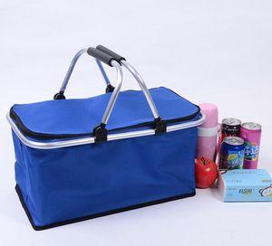 Portable Picnic Lunch Bag Ice Cooler Box Storage Travel Basket Cooler Cool Hamper Shopping Basket Bag Box GWC4112