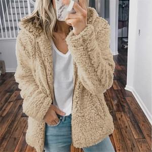 Winter Women Faux Fur Coat Teddy Bear Thick Warm Fake Fleece Jacket Ffy Jackets Plus Size Overcoat
