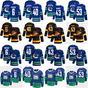 2020 Vancouver Canucks Jerseys 40 Elias Pettersson 6 Boeser 53 Bo Horvat 43 Quinn Hughes 10 Pavel Bure Hockey Jersey
