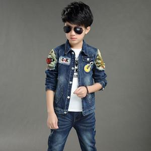 Мальчики Джинсовая куртка мальчиков джинсы комплект одежды 2pcs Boy Верхняя одежда Denim Pant мальчиков Одежда 4 6 3 7 8 10 11 13 Years Old 185001 Y1113