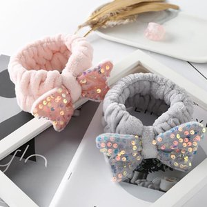 Korean Version Of The New Plush Hair Band Cute Sequin Bow Makeup Wash Hair Band Embroidery Accessories