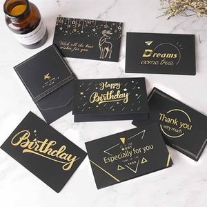 Black Hot Stamping Gold Cards Wedding Birthday Christmas Thanksgiving Festival Thank You Card Business Greeting Card Invitation