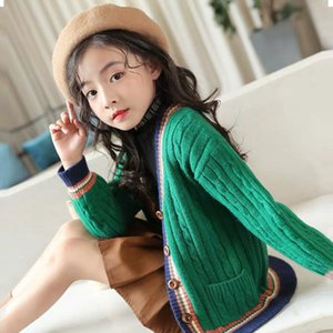 Kids Girls Cardigan Spring Autumn Knitted Sweaters Button Pure Color Knit Clothes for Teen School Girls Children Clothing 201126