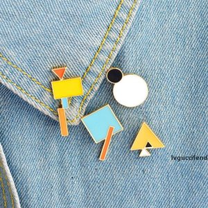Geometry Brooch Triangle Circle Rectangle Square Metal Badges Hard Enamel Pins Lapel Pin Collection Jewelry Gift Bag Jacket Coat Accessory