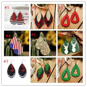 Hot Selling PU Leather Glitter Multilayer Oval Earrings Sequined Teardrop Earrings Leopard water drop Dangle Earrings for Women Jewelry