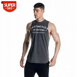 Yeni Yaz Spor Salonları Tank Tops Kas Guys Kolsuz Tank Erkek Bodybuilding Spor Yelek Erkek Egzersiz Kas Gömlek # OO67
