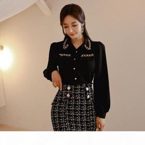 2020 Spring Women Lantern Sleeve Black Chiffon Shirt Blouse+Tweed Plaid Pencil Short Skirt Set Office Lady 2 Pieces Set