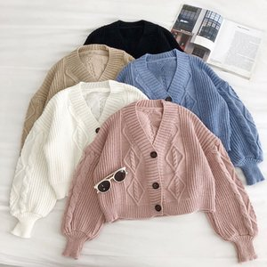 New Women Button Up Sweater Fashion Autumn Winter V Neck Single-breasted Crop Sweaters Woman Korean Oversize Short Cardigan 201130