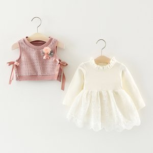 Melario Cute Baby Girl Dresses Newborn Clothes Flower Knit vest Dress suit Princess Dresses Cotton Kids Infant Baby clothing 201204