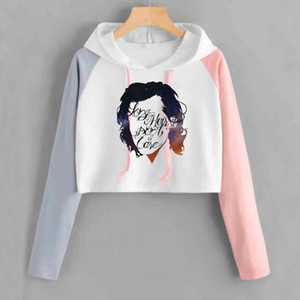 Harry Styles Crop Hoodied Women Hip Hop One Direction 1D Felpa abbreviata Casual Casual Manica lunga Pink Sweat Femme Tracksuit