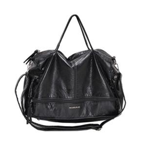 Große Kapazität Taschen für Frauen 2020 Schultertasche WASHED PU Motorrad Messenger Lässige Handtaschen Top-Griff Taschen SAC A C1223